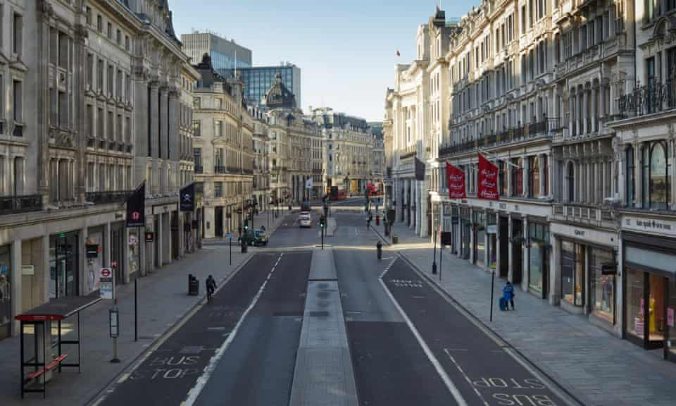 A near-deserted Regent Street, London, shot from a high angle from the centre of the street