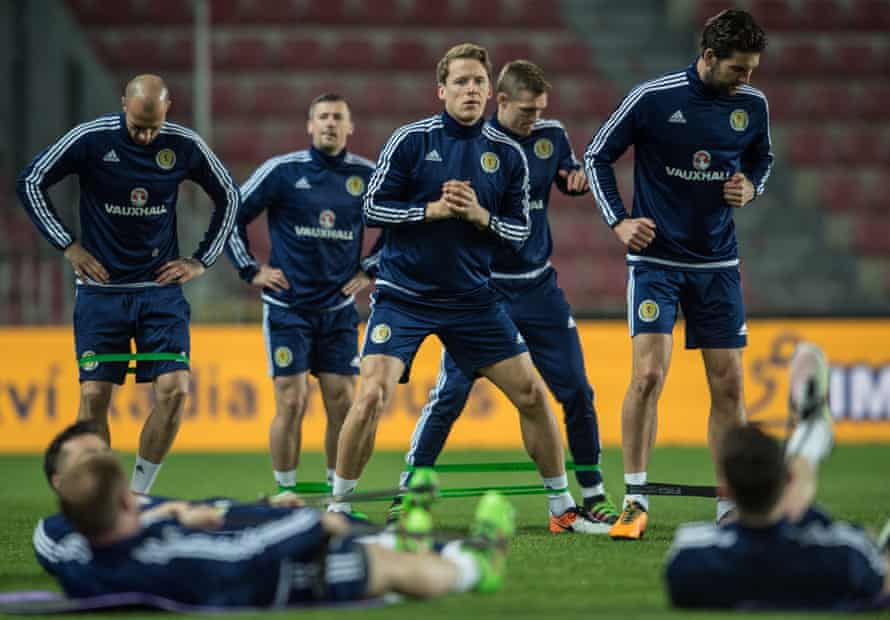 Scotland players are put through their paces in Prague.