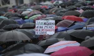 People in Argentina march against gender violence.