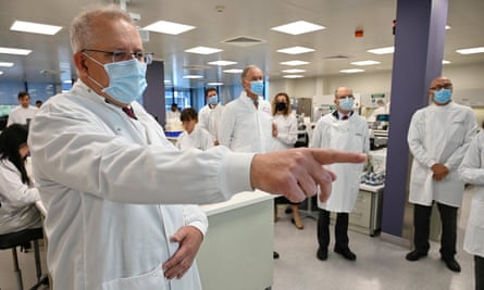 Australian prime minister Scott Morrison tours the AstraZeneca laboratories in Sydney