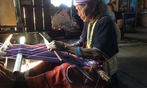 A 90-year-old Karen villager at her loom