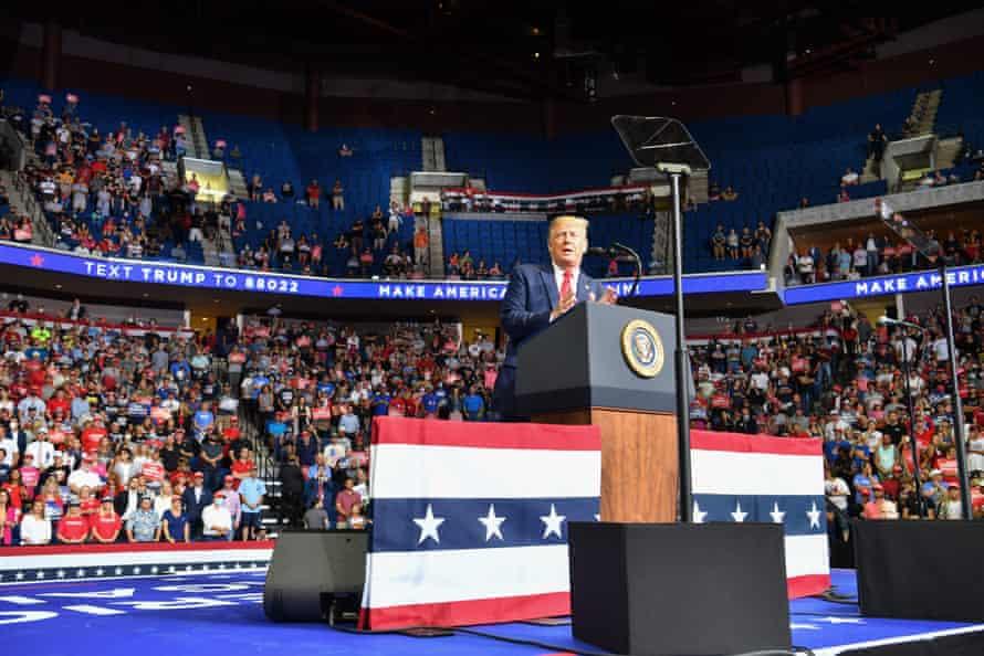 Trump holds a rally in Tulsa, Oklahoma.