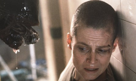The bloodthirsty monster with an engorged protruding head approaches Sigourney Weaver in Alien 3.