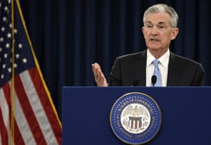 Federal Reserve Chair Jerome Powell speaking during today's news conference in Washington.