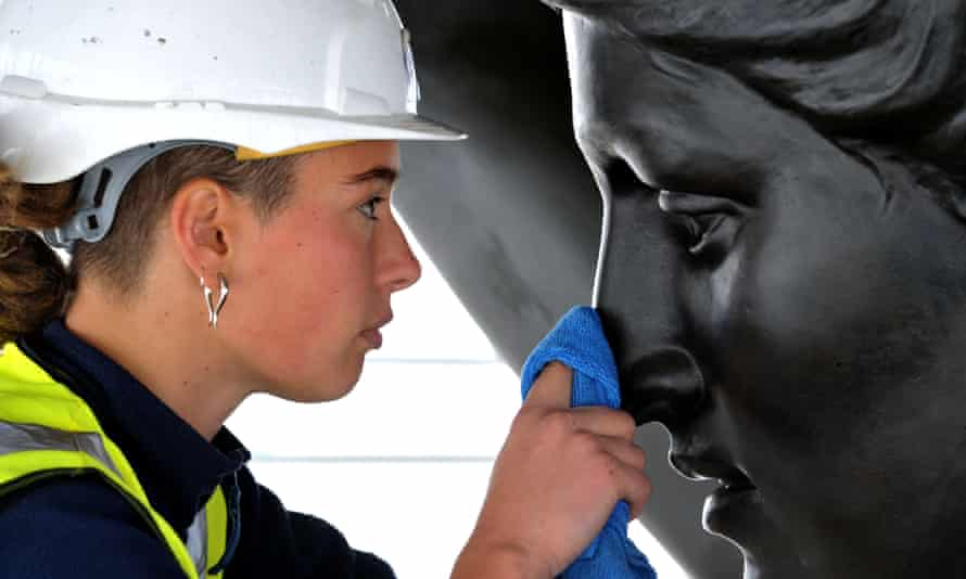 Statue of Peace being cleaned