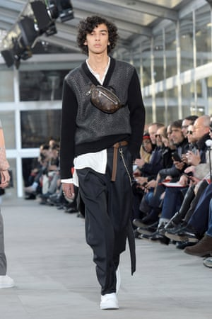 One of the many V-necks on the Louis Vuitton catwalk, Paris fashion week, 2017.