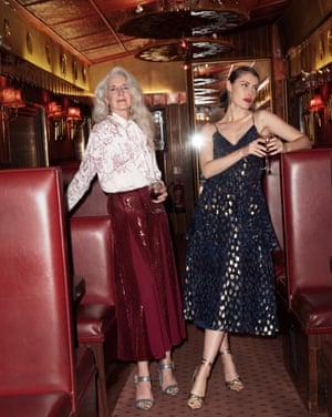 model wears white printed shirt, £59.99, and red sequin/material skirt, £95.99, zara.com Glitter block heels with diamanté buckle, £311, jcrew.com Earrings, £12.99, zara.com model wears navy and gold dress, £199, Whistles 12 Days of Christmas Dresses, exclusive to John Lewis & Partners johnlewis.com Gold knot heels, £50, riverisland.com Earrings, £84, jcrew.com