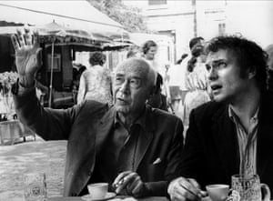 Author Henry Miller with Rip Torn, who plays him in the movie, on the set of Tropic of Cancer in Paris, 1970