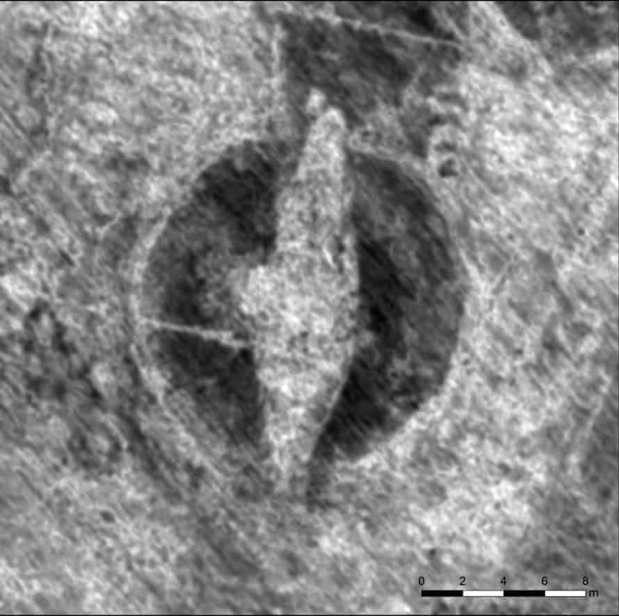 Image generated from a georadar showing a viking ship buried near Halden, 150km south of Oslo, Norway.