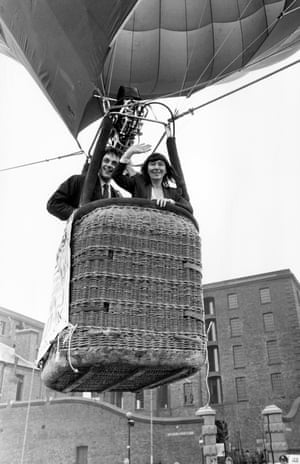 Beryl Bainbridge flying into Albert Dock in Liverpool in 1990.