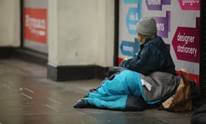 homeless woman on a street in London
