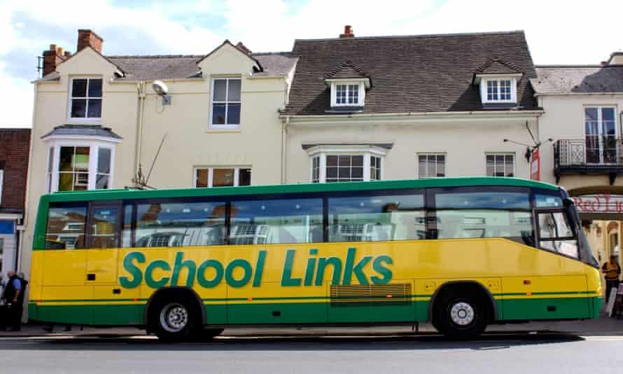 A school bus in Stratford-upon-Avon, UK.