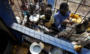 People from South Sudan queue for a wet-food ration in Kakuma refugee camp.