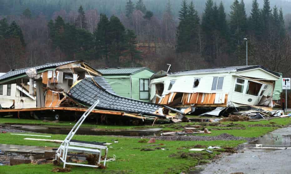 Personal belongings and wrecked caravans at Ballater caravan park.