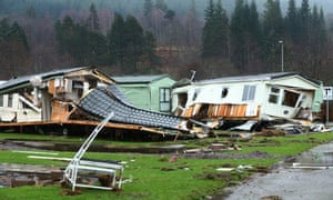Wrecked caravans at Ballater caravan park after the river Dee overwhelmed Aberdeenshire.