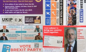 A selection of European election campaign leaflets from various parties