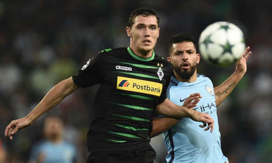 Andreas Christensen, left, competes with Manchester City's Sergio Agüero during another impressive season with Borussia Mönchengladbach.
