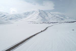 Van, Turkey Vehicles approach the Artos mountain near the Abali ski centre in Van