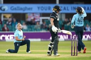England's Katherine Brunt celebrates the wicket of New Zealand's Sophie Devine.