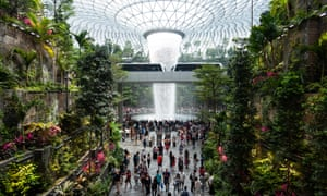 The Jewel terminal with waterfall and Forest Valley at Changi international airport, Singapore