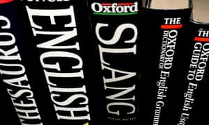 Dictionaries and English language reference books.