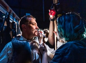 Make-up backstage during one of the very quick changes.
