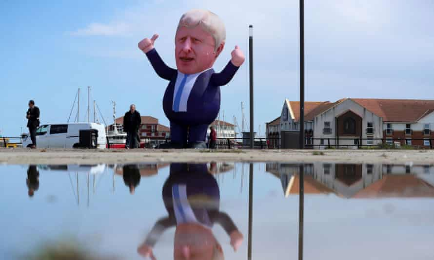 An inflatable figure depicting Britain's Prime Minister Boris Johnson is seen at Jacksons Wharf Marina Hartlepool following local elections