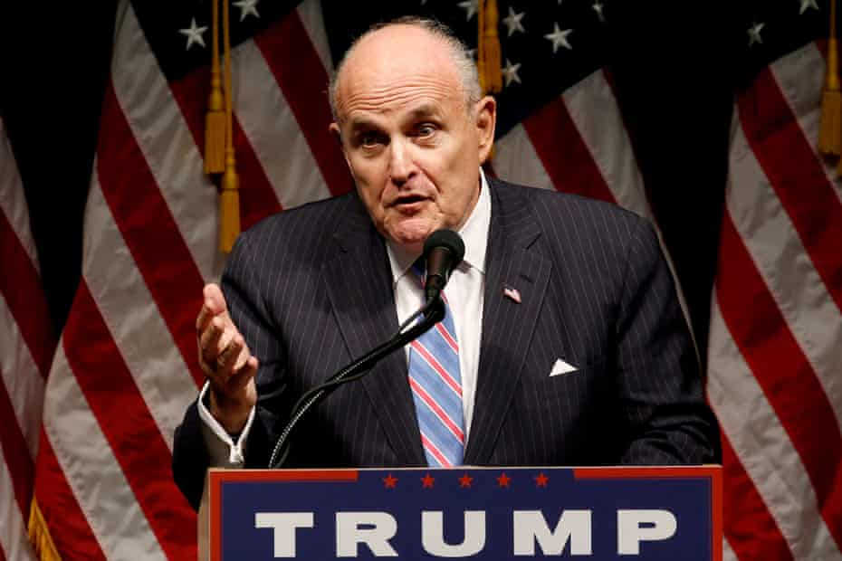 Rudy Giuliani delivers remarks before Donald Trump rallies with supporters in Council Bluffs, Iowa in 2016.