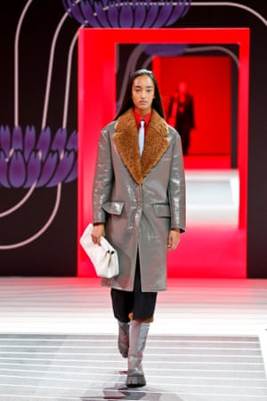 A model wears the Prada boot at Milan fashion week in February 2020.