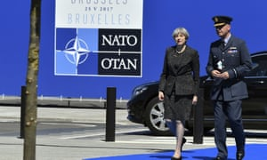 Theresa May arriving for the NATO summit in Brussels.