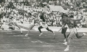 SA's Dave Sime (right) just fails to get up to take gold from West Germany's Armin Hary (left) in the Olympic 100m final at Rome. Great Britain's Peter Radford won bronze.