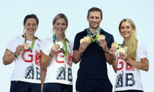 Team GB cyclists Katy Marchant, Rebecca James, Jason Kenny and Laura Trott pose with their gold medals from Rio.