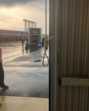 A noose found in the Number 43 garage stall, assigned to driver Bubba Wallace, at Talladega Superspeedway in Talladega, Alabama