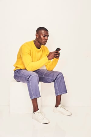 RELAXED WEEKEND Choose soft textures for chill-out days Yellow jumper, £260, sandro-paris.com Washed indigo work pants, £395, Burberry harrods.com Trainers, £70, Nike schuh.co.uk