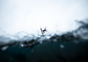 A surfer performing an aerial