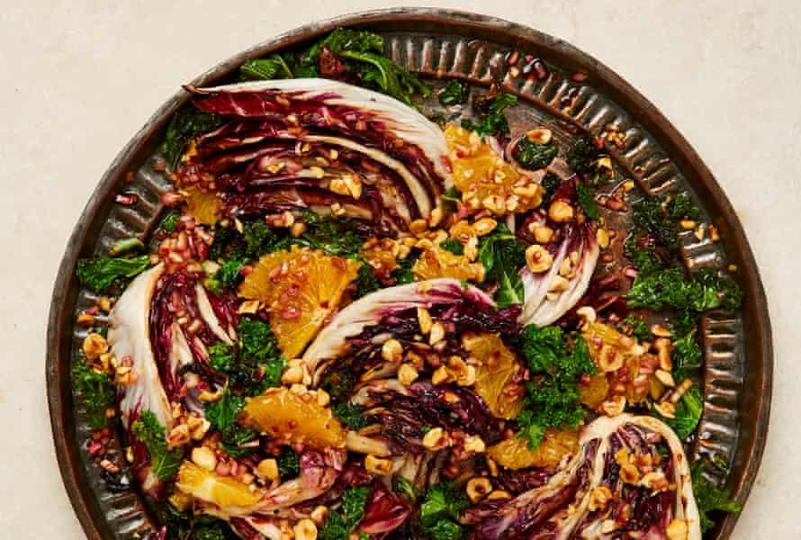 Yotam Ottolenghi's grilled radicchio and kale salad with orange and hazelnuts.