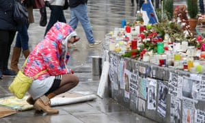 People continue to leave tributes to victims three months after the terrorist attacks in Paris.