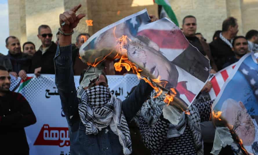 Palestinians protest against US Middle East peace plan