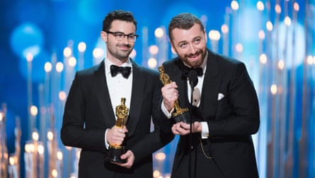 Jimmy Napes and Sam Smith accepting the Oscar for best original song in 2016.