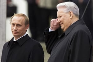 Putin with former president Boris Yeltsin in May 2000.