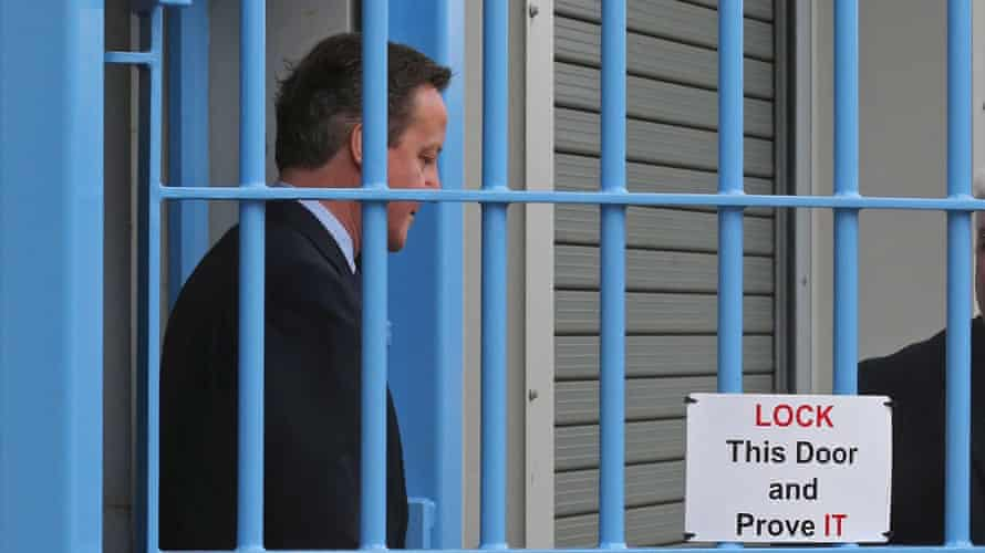 David Cameron visiting Onley jail in Rugby, Warwickshire