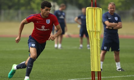 Dominic Solanke during an England Under-20 training session in South Korea on Tuesday. The striker has decided to leave Chelsea and join Liverpool