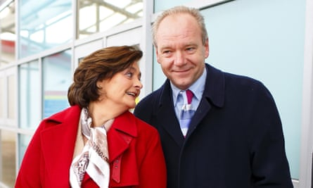 Party on … John O'Farrell with Cherie Blair in 2013, when he stood for Labour in the Eastleigh byelection.
