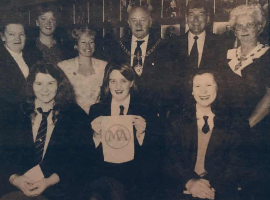 Ruth (front, left) receiving a school prize for public speaking. Kate Greig is second from left at the back. Photograph courtesy Ruth Cawthorne