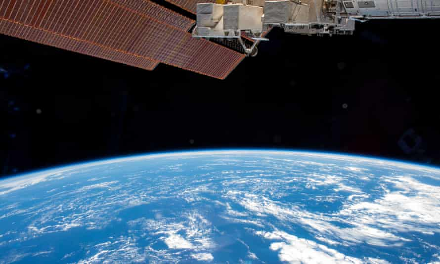 The International Space Station above the Atlantic Ocean.