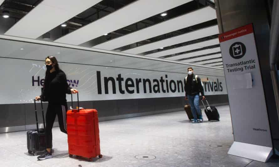 International passengers arriving at Heathrow Terminal 5