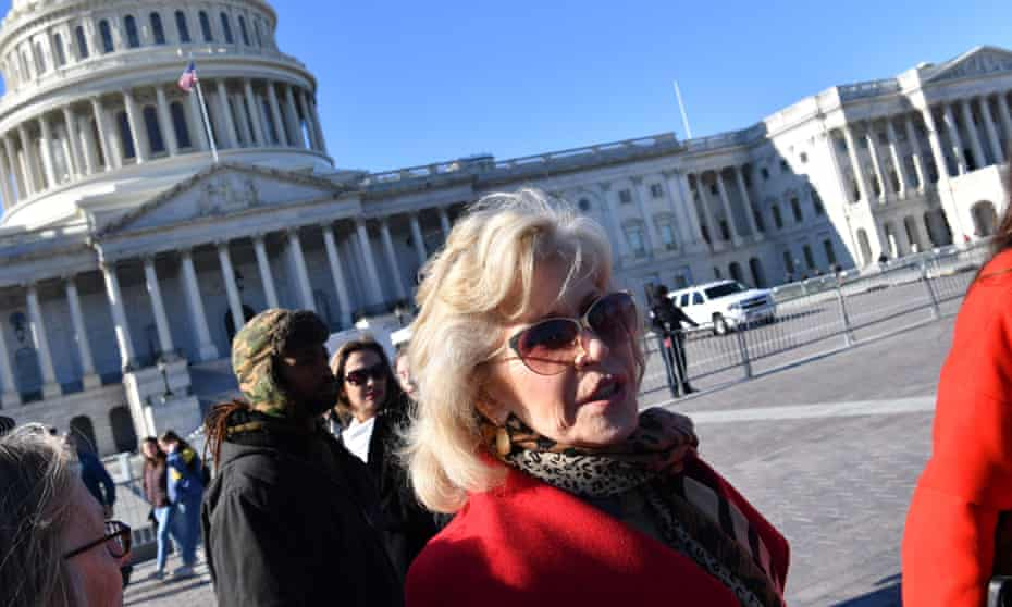 Jane Fonda takes part in a rally against climate change outside US Capitol in Washington.