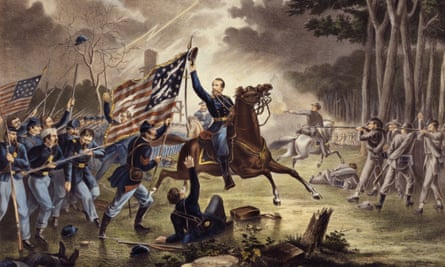 General Kearney's gallant charge at the Battle of Chantilly, painted by Augustus Tholey. Kearny mistakenly rode into the Confederate lines and was killed.