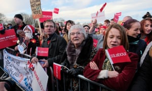 Labour supporters at a campaign rally by Jeremy Corbyn in Middlesbrough the day before the general election.