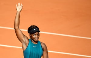 ParisSloane Stephens of the US reacts after beating Madison Keys during the French Open women's semi-final at Roland Garros.
